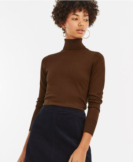 Oasis Lizzie Brown Turtleneck Jumper