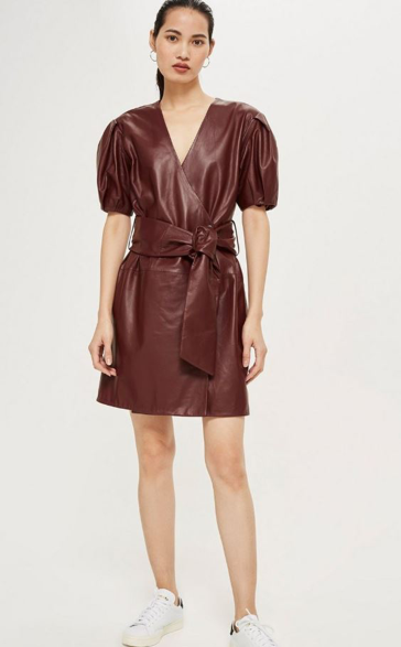 Topshop Leather Wrap Dress by Boutique