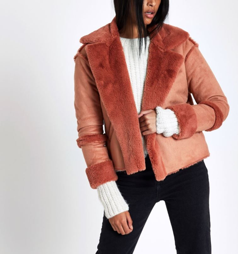 River Island Pink Faux Shearling Jacket
