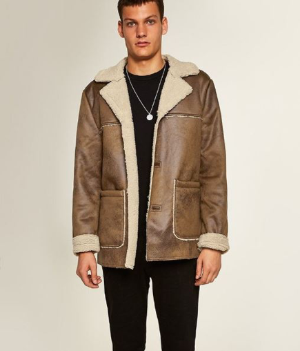 Topman Tan Faux Shearling Jacket